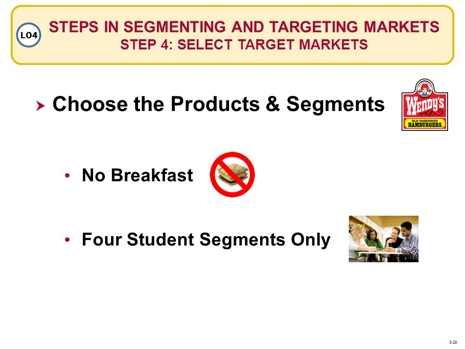 Choose the Products & Segments