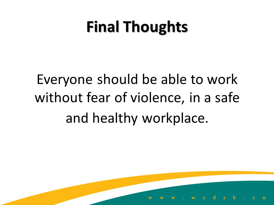 Final Thoughts Everyone should be able to work without fear of violence, in a safe and healthy workplace.
