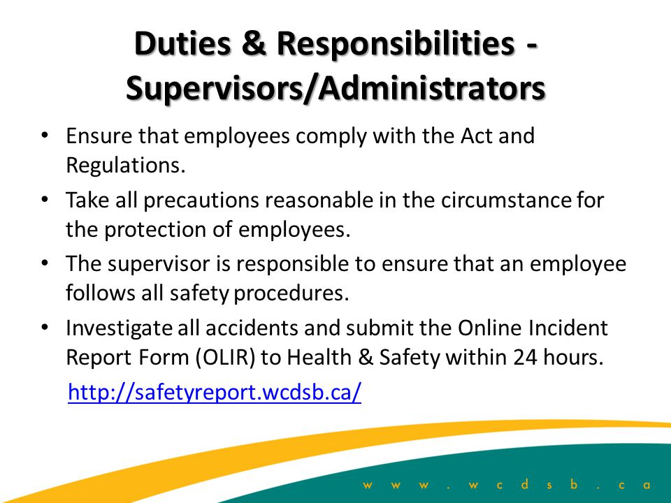 Duties & Responsibilities - Supervisors/Administrators