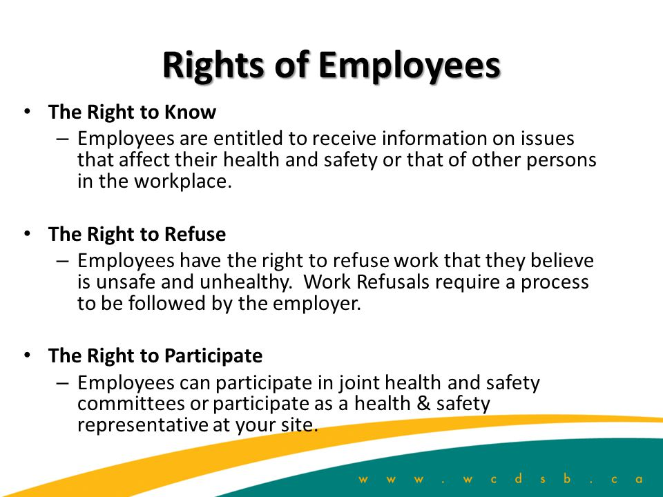 Rights of Employees The Right to Know