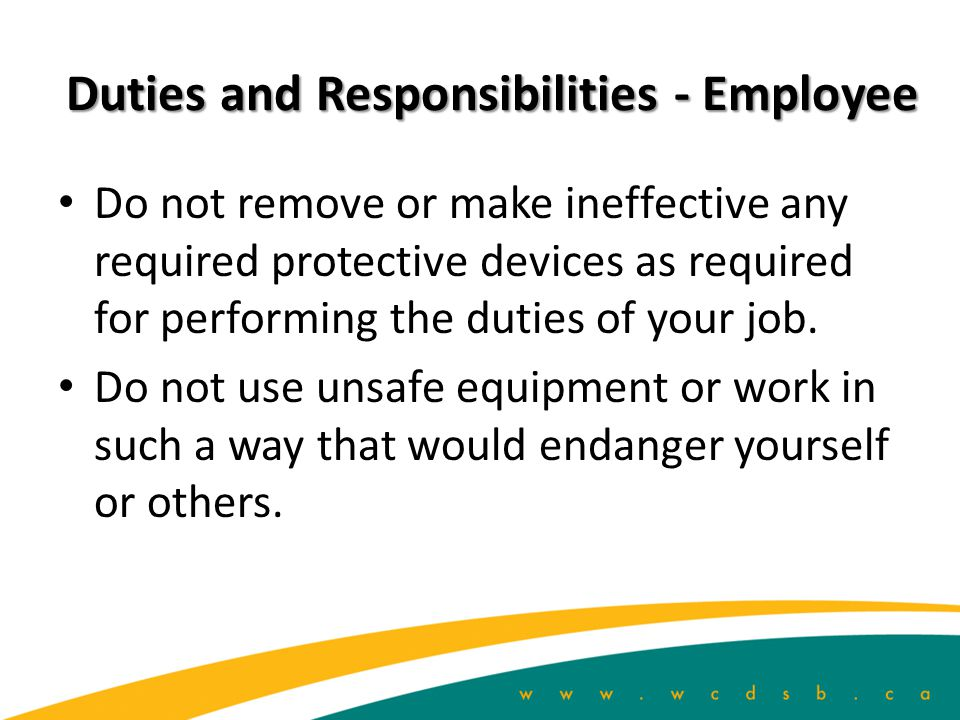 Duties and Responsibilities - Employee