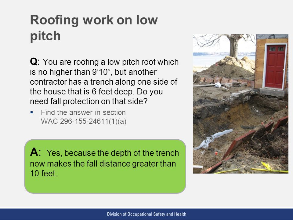 Roofing work on low pitch
