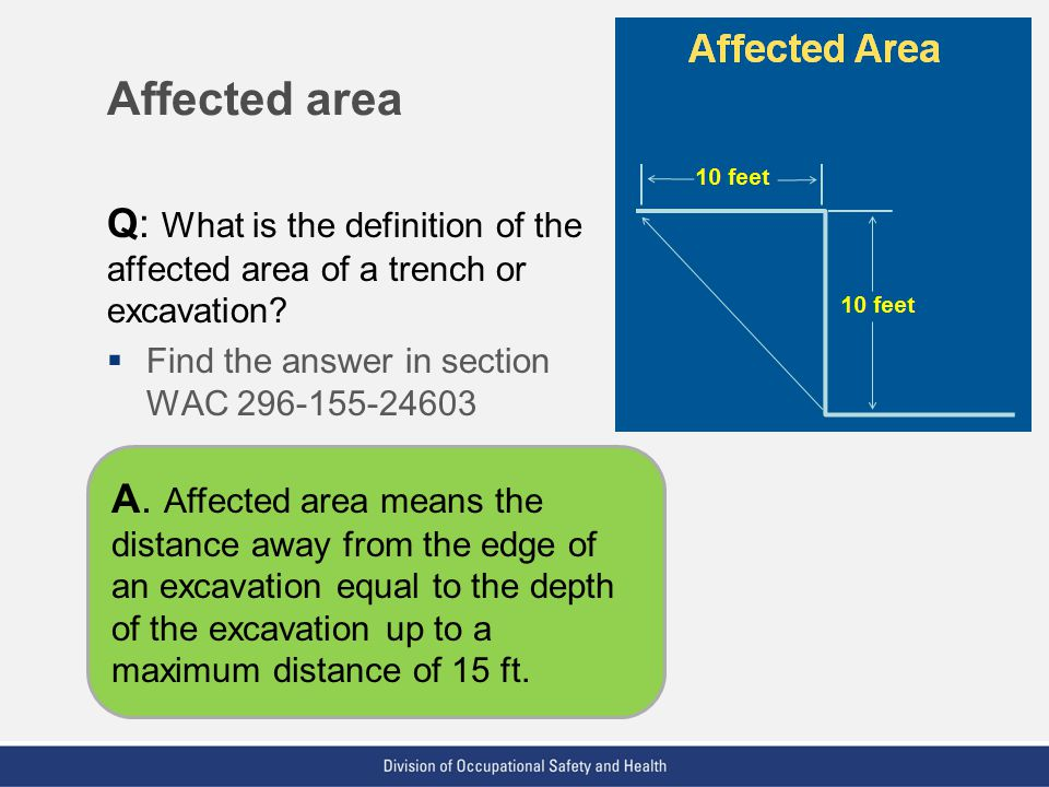 Affected area Q: What is the definition of the affected area of a trench or excavation Find the answer in section WAC 296-155-24603.