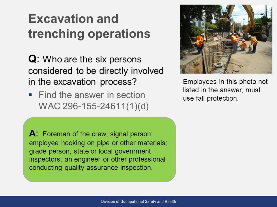 Excavation and trenching operations
