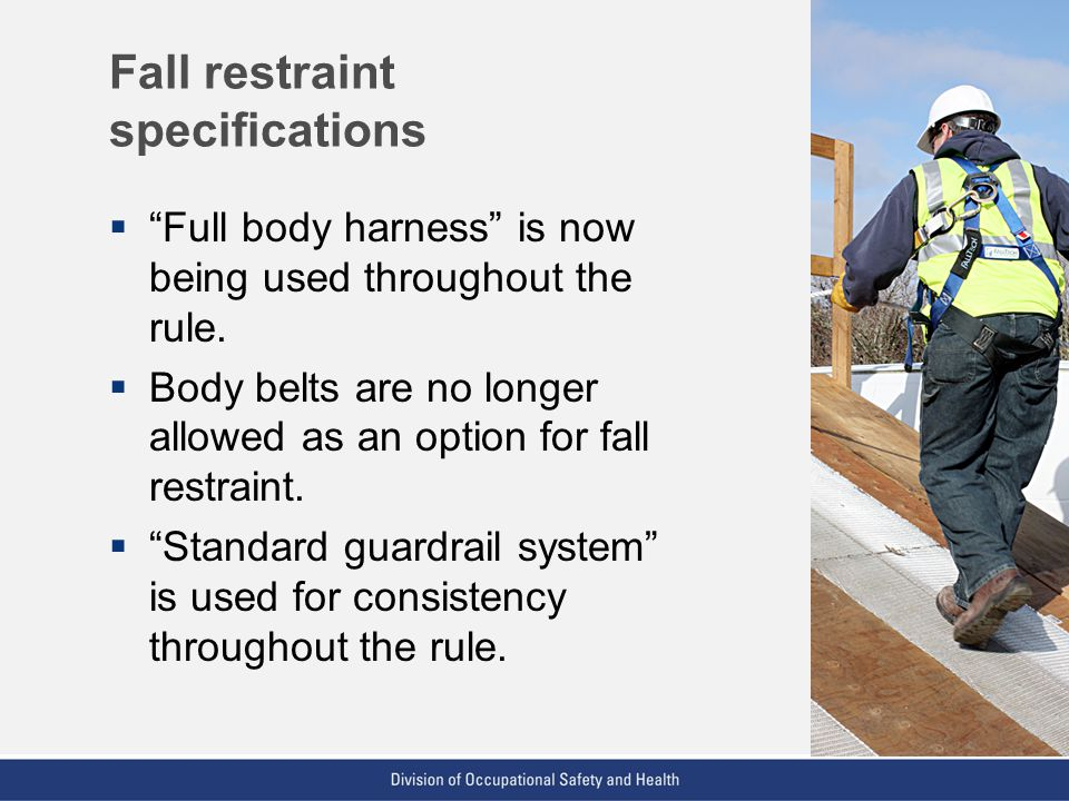 Fall restraint specifications