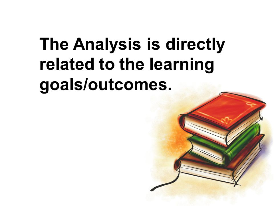 The Analysis is directly related to the learning goals/outcomes.