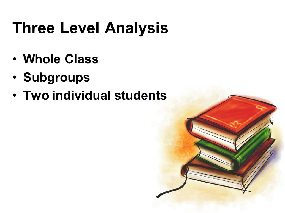 Three Level Analysis Whole Class Subgroups Two individual students