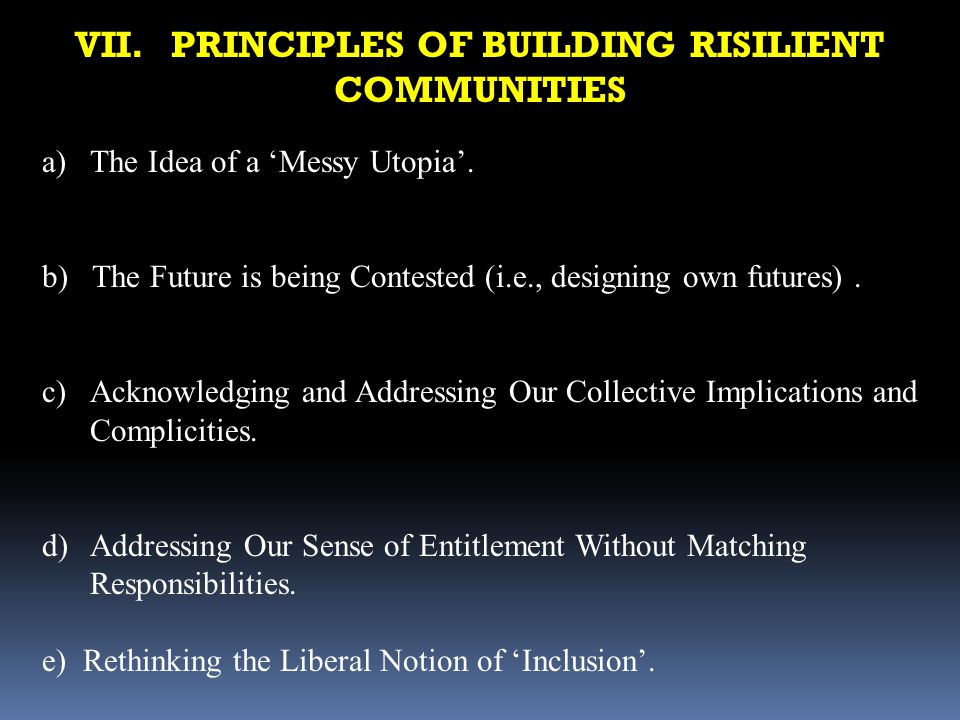 VII. PRINCIPLES OF BUILDING RISILIENT COMMUNITIES