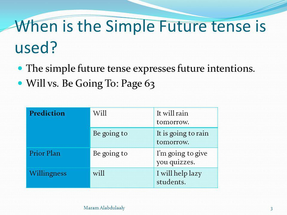 When is the Simple Future tense is used