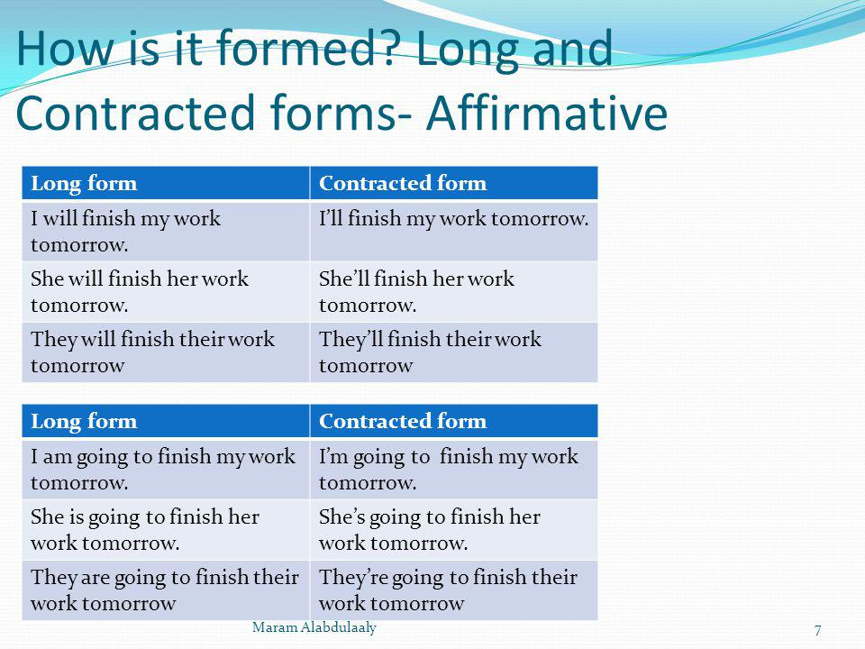 How is it formed Long and Contracted forms- Affirmative