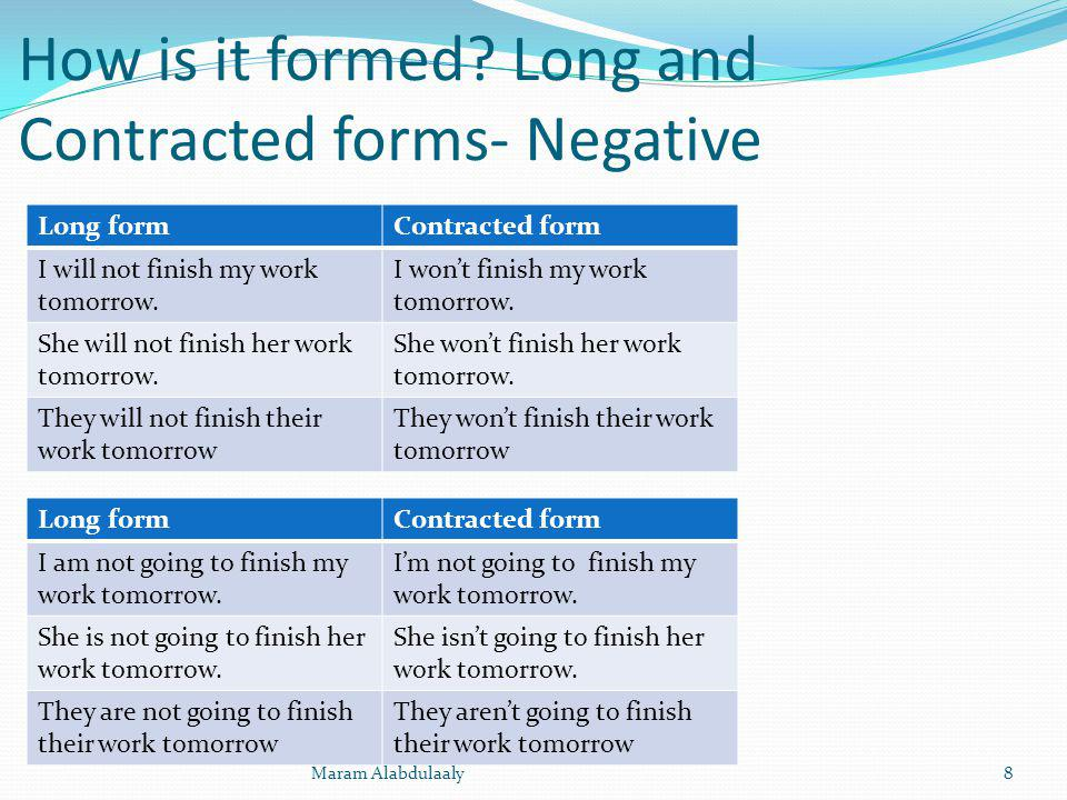 How is it formed Long and Contracted forms- Negative