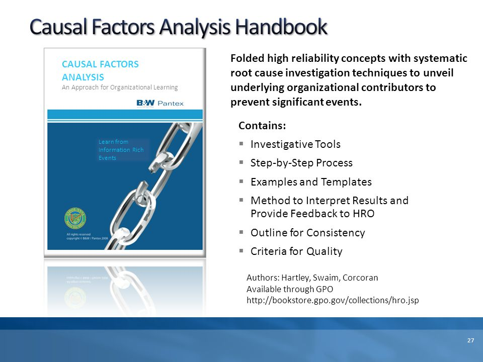 Causal Factors Analysis Handbook