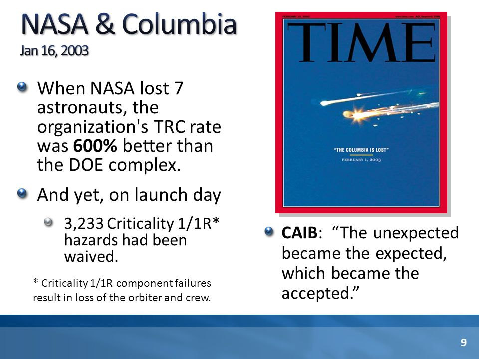 NASA & Columbia Jan 16, 2003 When NASA lost 7 astronauts, the organization s TRC rate was 600% better than the DOE complex.