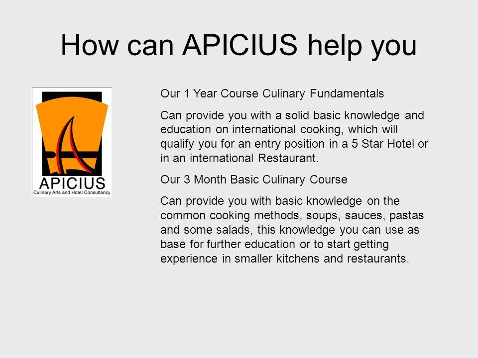 How can APICIUS help you