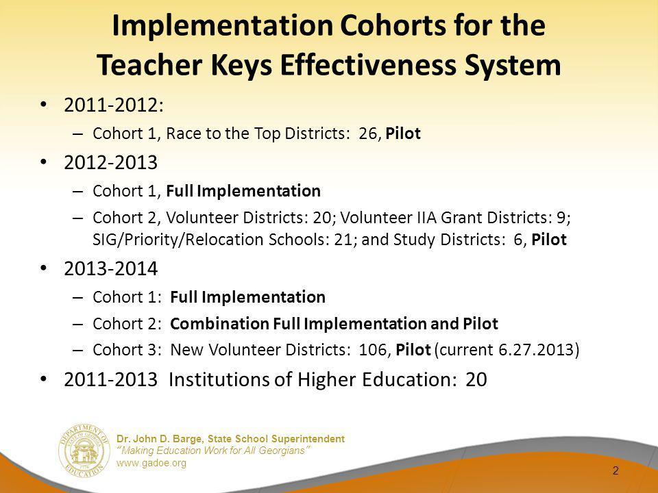 Implementation Cohorts for the Teacher Keys Effectiveness System