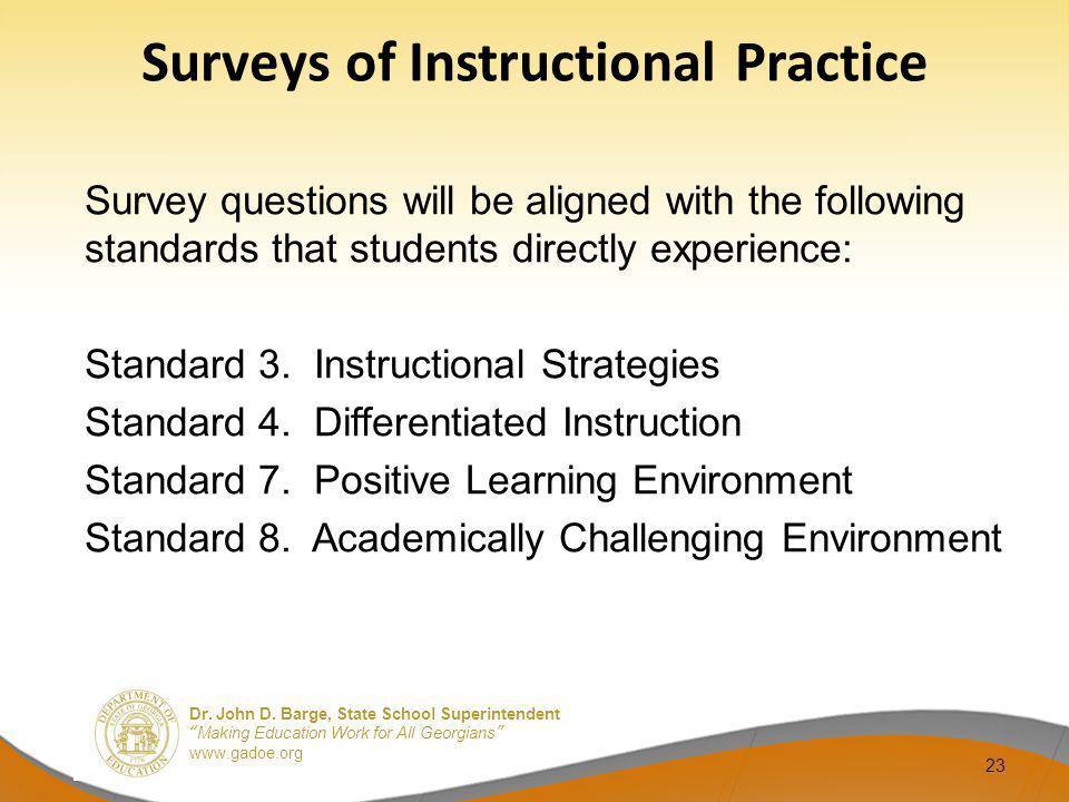 Surveys of Instructional Practice