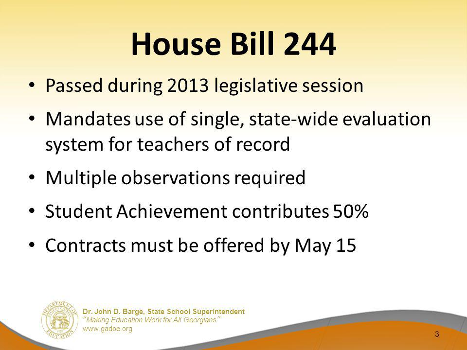 House Bill 244 Passed during 2013 legislative session
