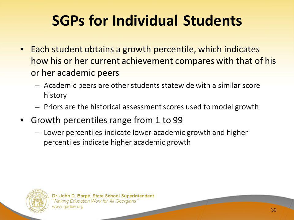 SGPs for Individual Students