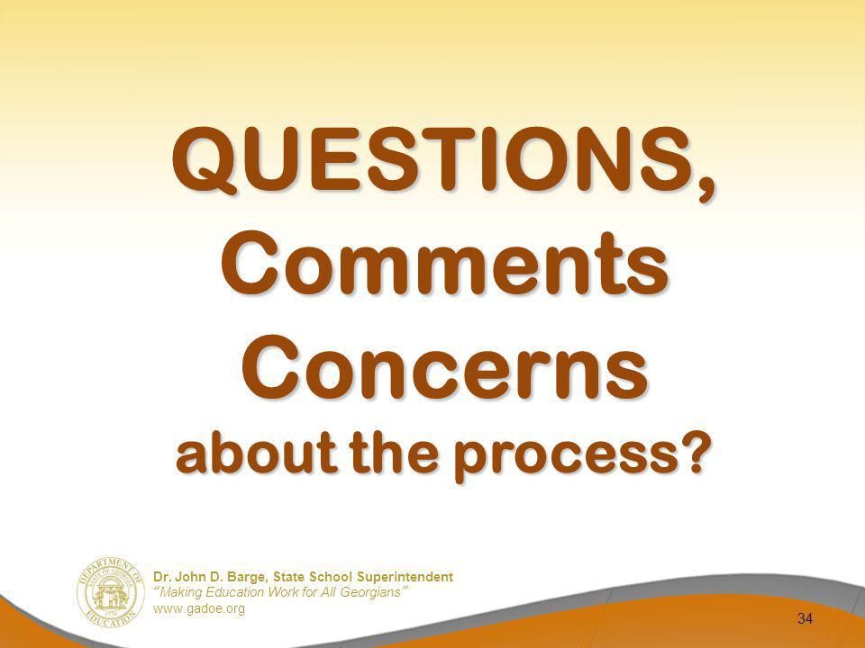 QUESTIONS, Comments Concerns