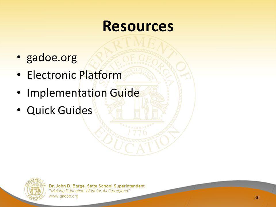 Resources gadoe.org Electronic Platform Implementation Guide