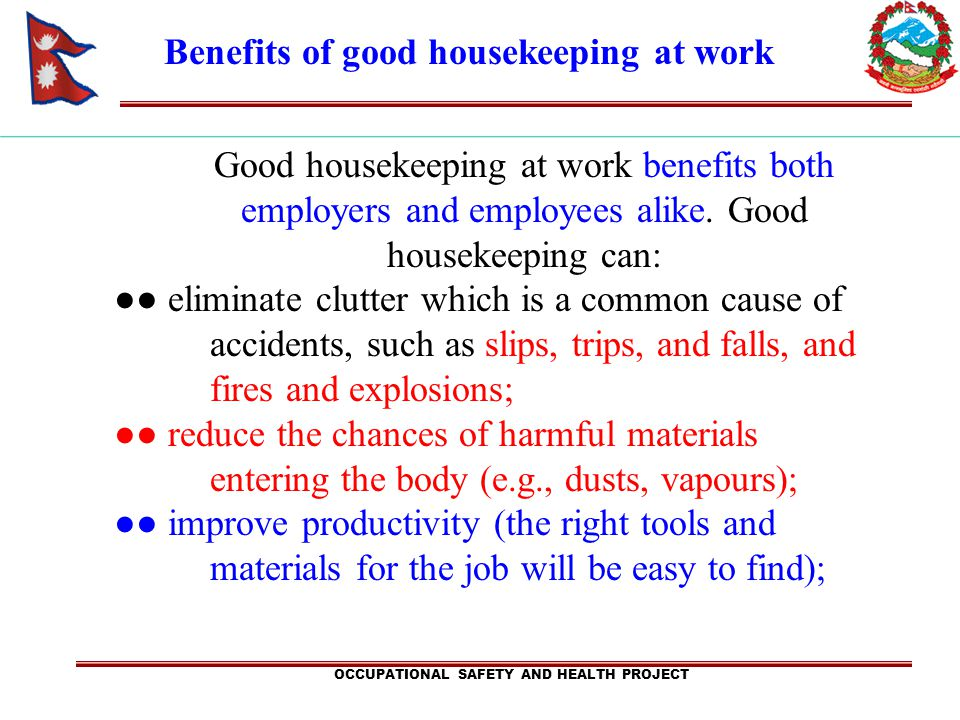Benefits of good housekeeping at work