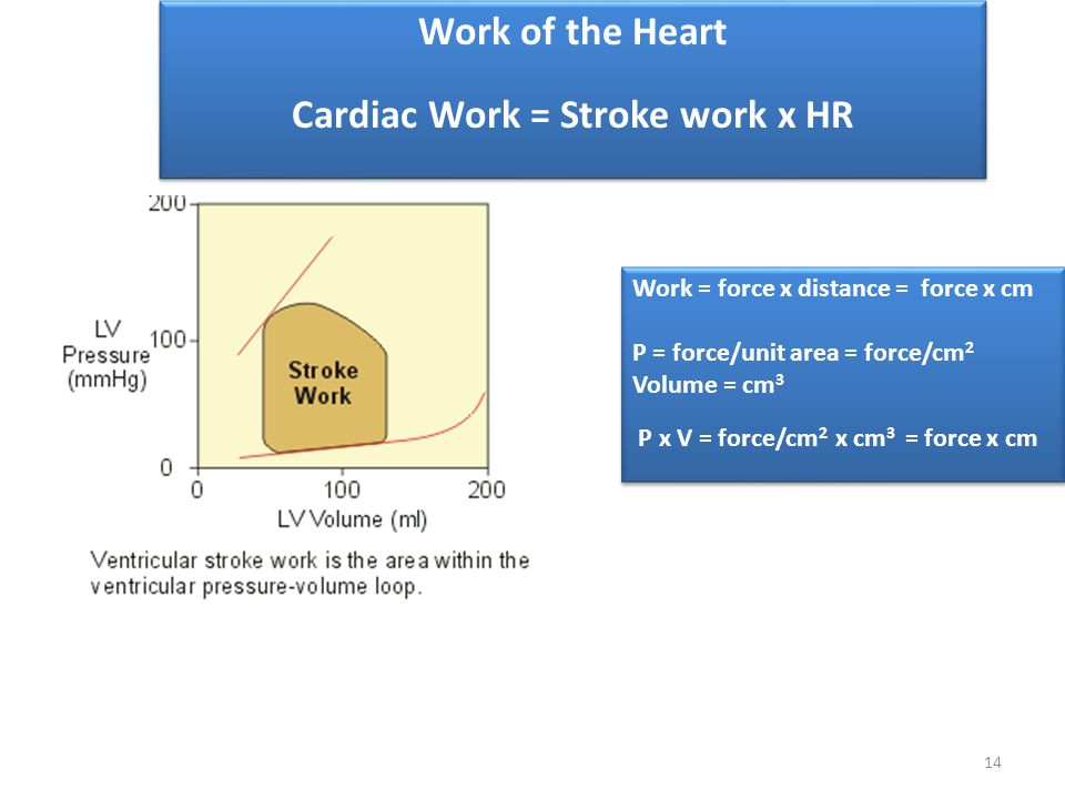 Cardiac Work = Stroke work x HR