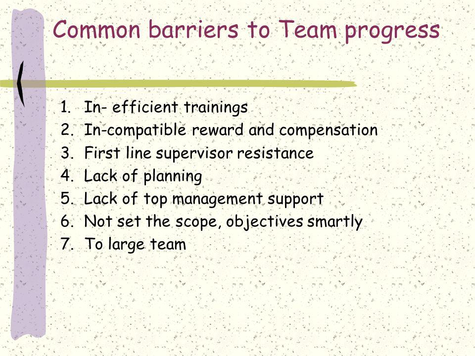 Common barriers to Team progress