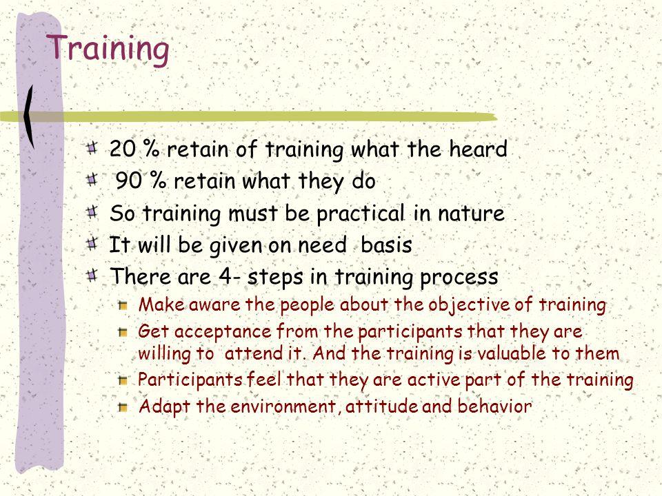 Training 20 % retain of training what the heard