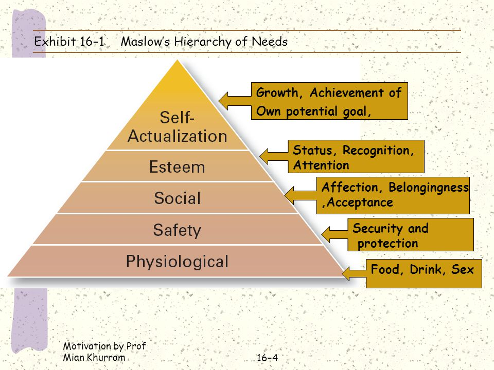 Exhibit 16–1 Maslow's Hierarchy of Needs