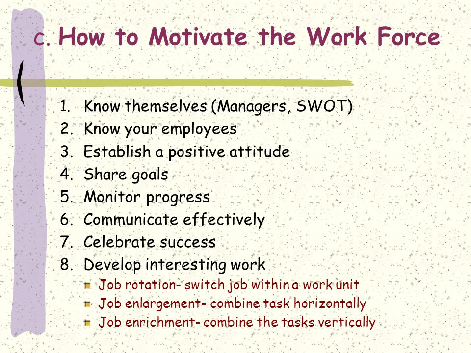 c. How to Motivate the Work Force