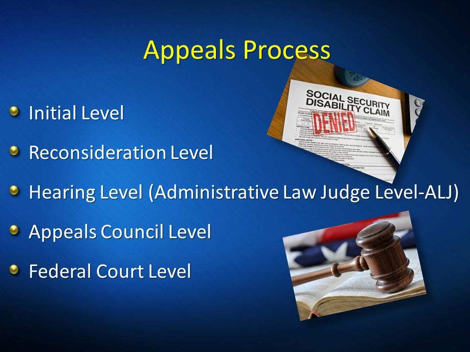Appeals Process Initial Level Reconsideration Level