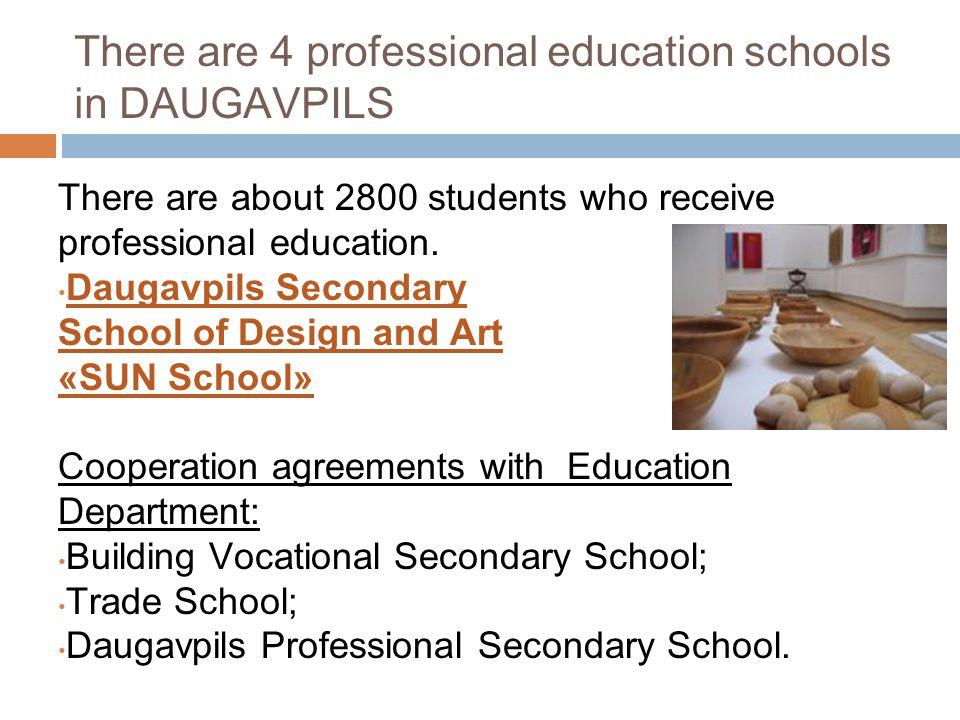 There are 4 professional education schools in DAUGAVPILS