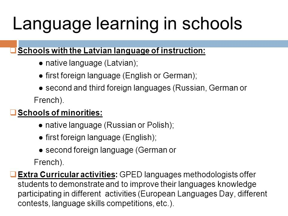 Language learning in schools