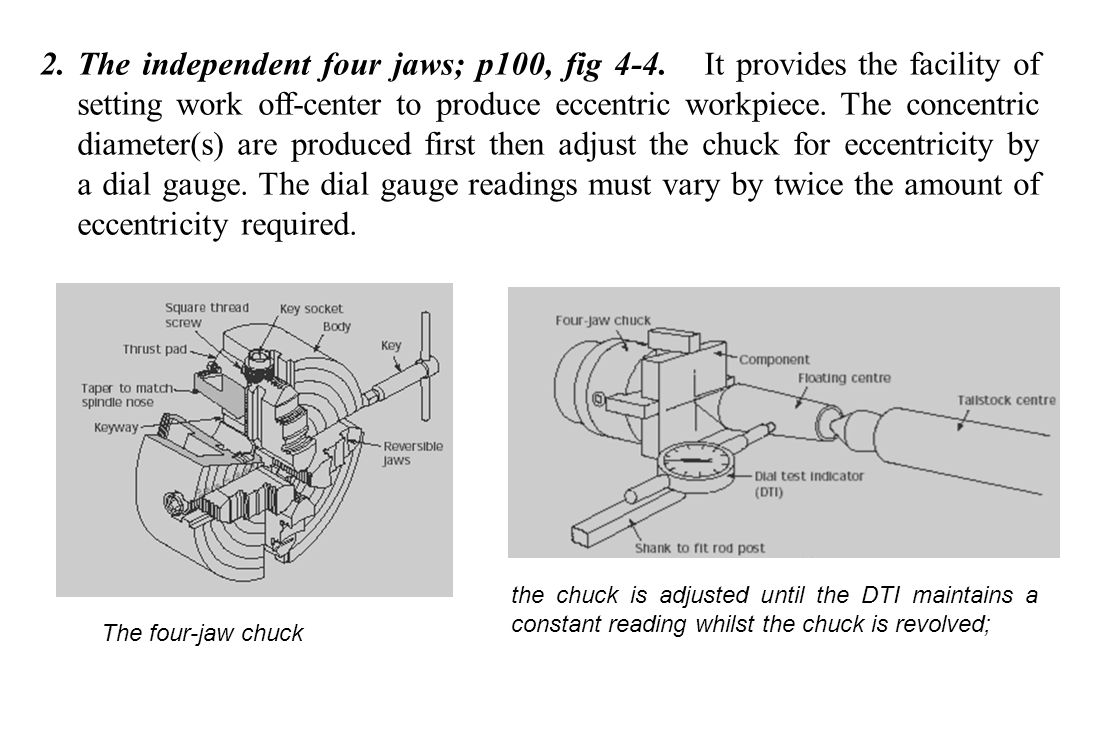 The independent four jaws; p100, fig 4-4