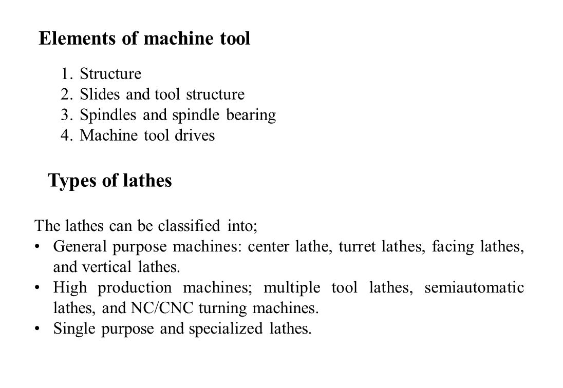 Elements of machine tool