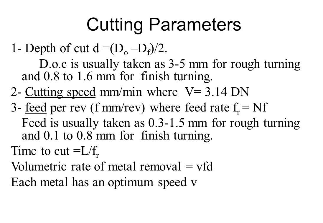 Cutting Parameters 1- Depth of cut d =(Do –Df)/2.