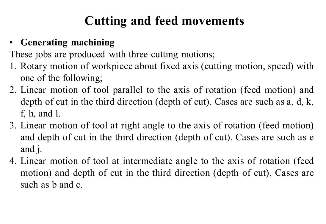 Cutting and feed movements