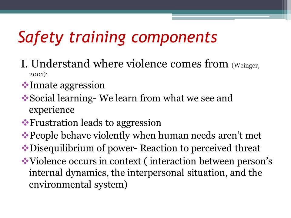 Safety training components