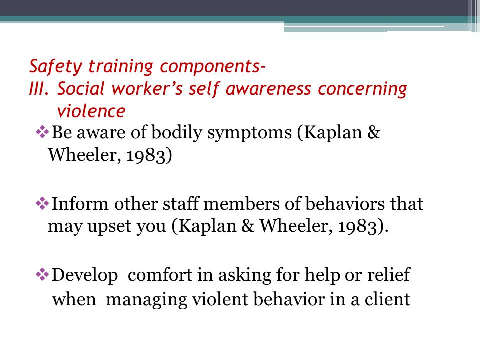 Safety training components- III