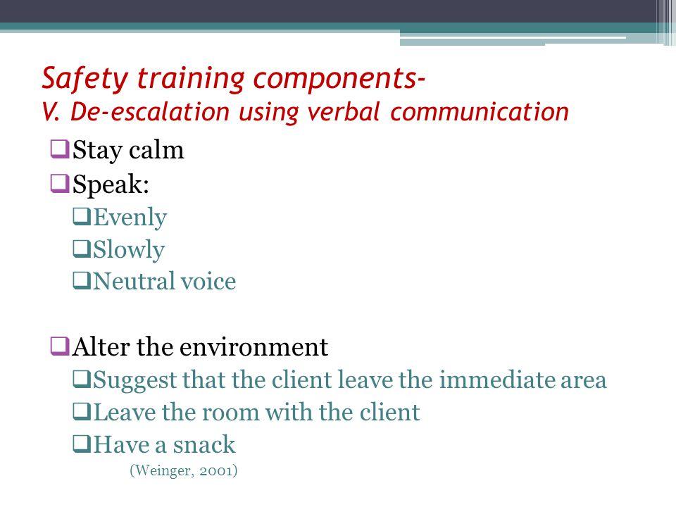 Safety training components- V. De-escalation using verbal communication