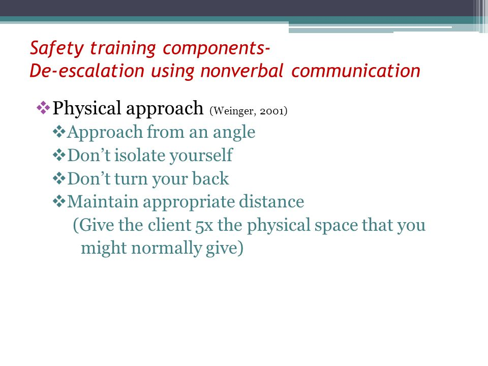 Physical approach (Weinger, 2001)