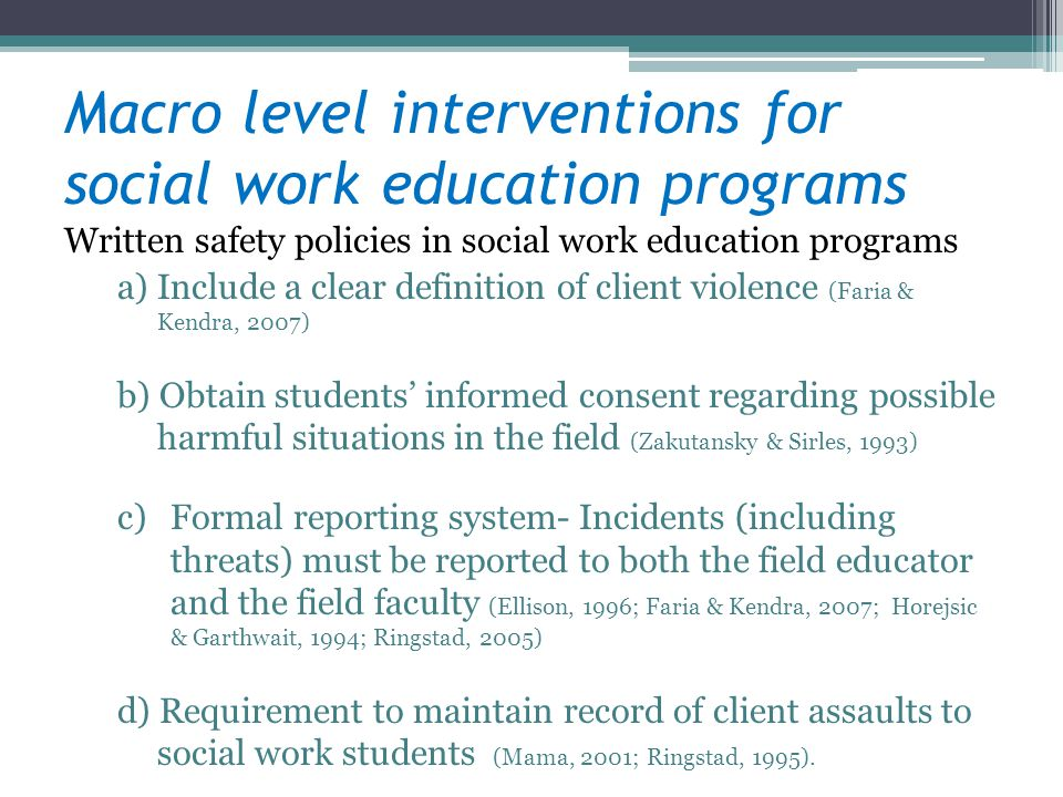 Macro level interventions for social work education programs