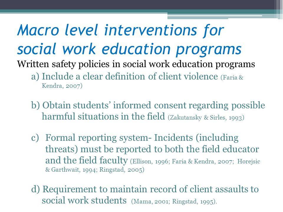 Macro level interventions for social work education programs