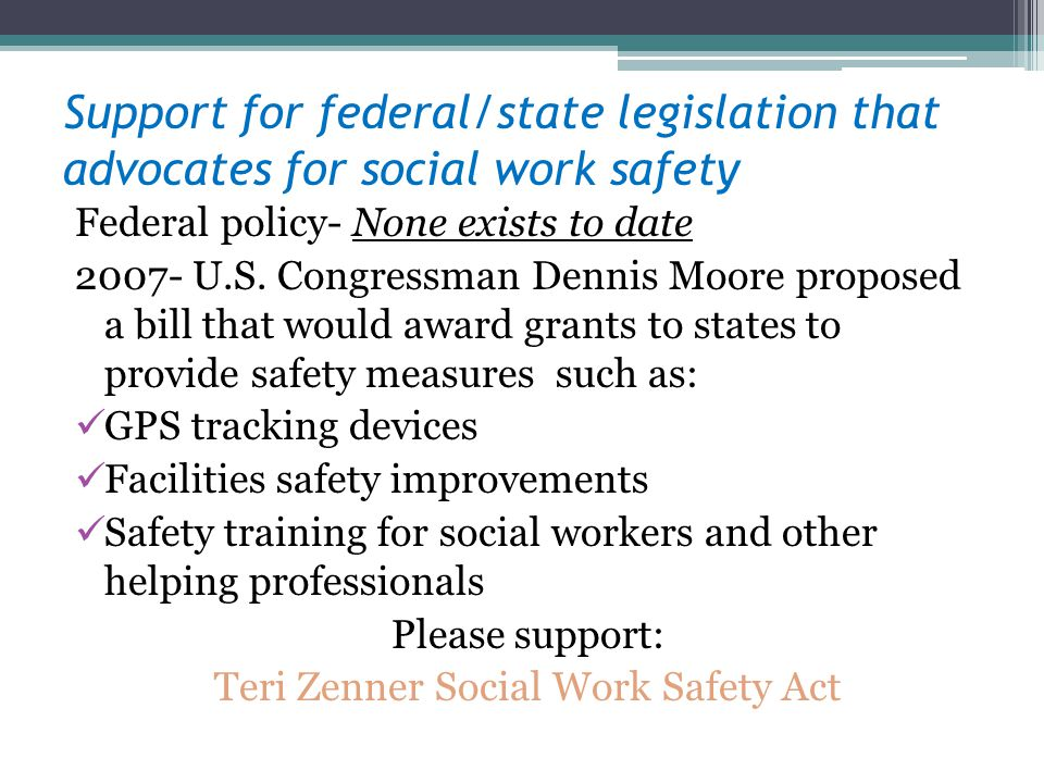 Teri Zenner Social Work Safety Act