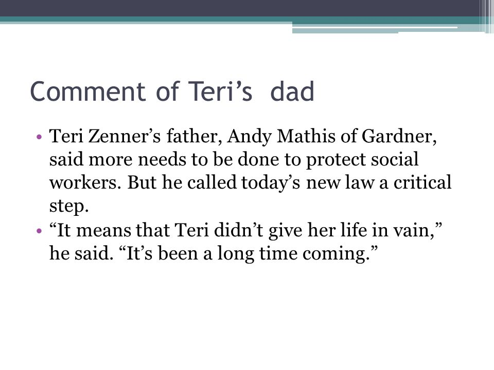 Comment of Teri's dad