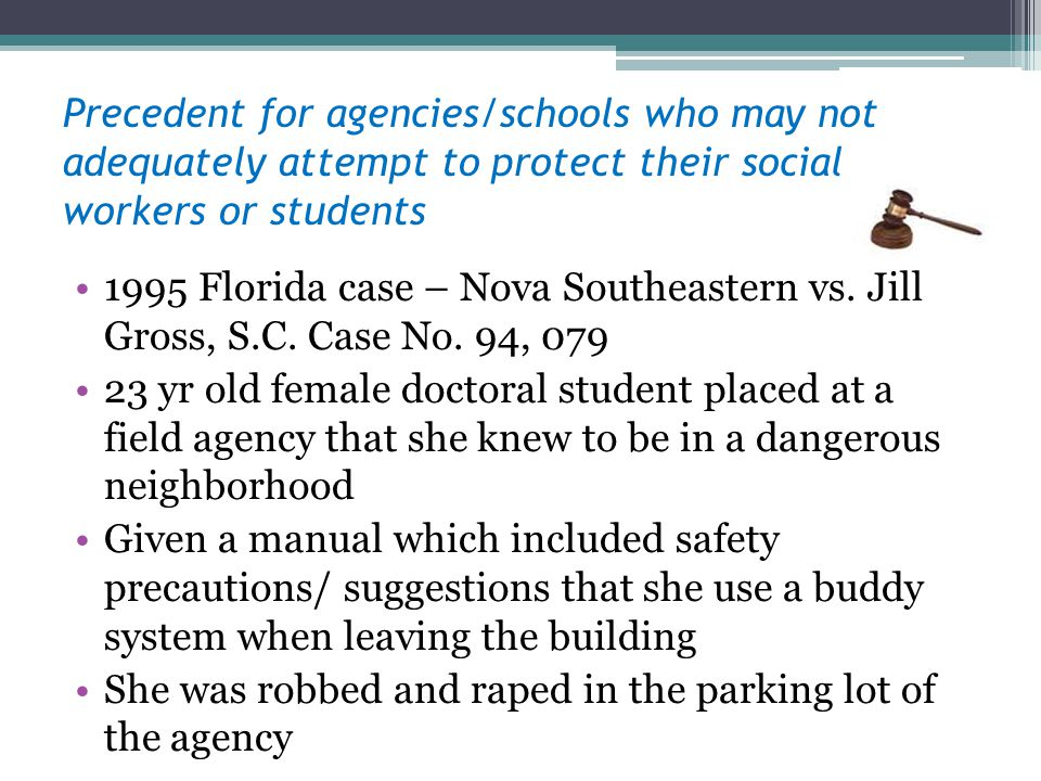 Precedent for agencies/schools who may not adequately attempt to protect their social workers or students