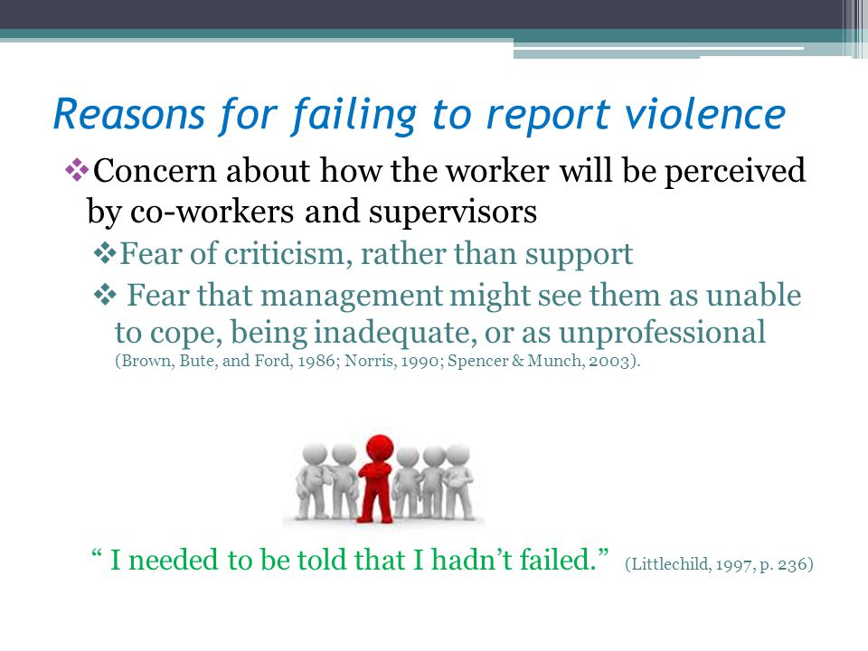 Reasons for failing to report violence