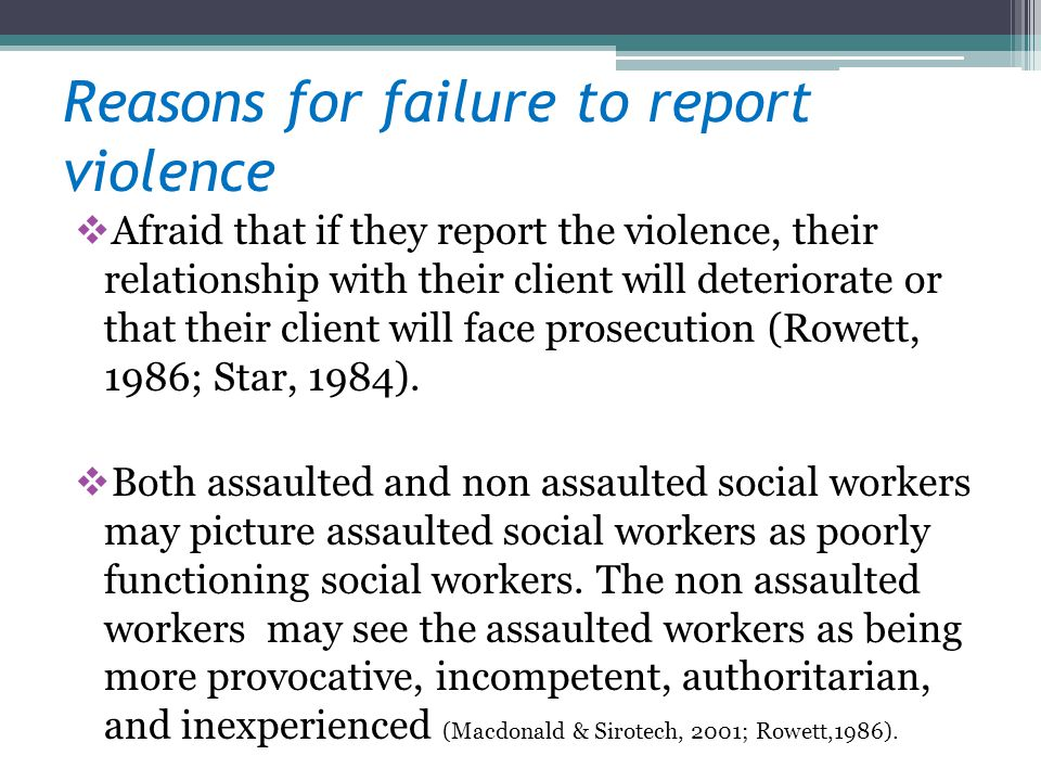 Reasons for failure to report violence