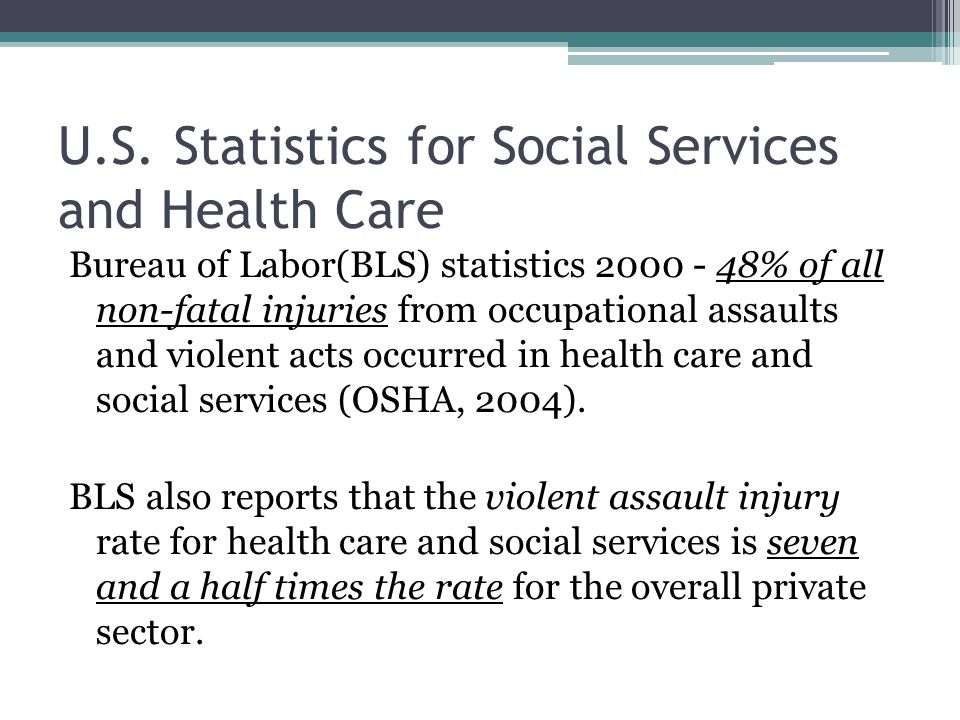 U.S. Statistics for Social Services and Health Care