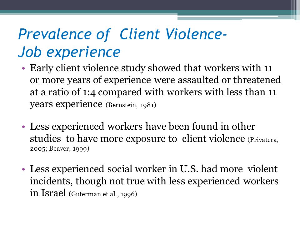 Prevalence of Client Violence- Job experience